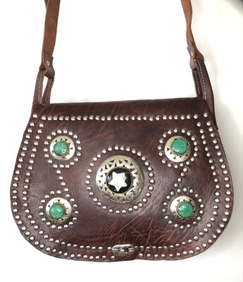 Rich Brown Embellished Moroccan Leather Saddle Bag Shoulder Bag