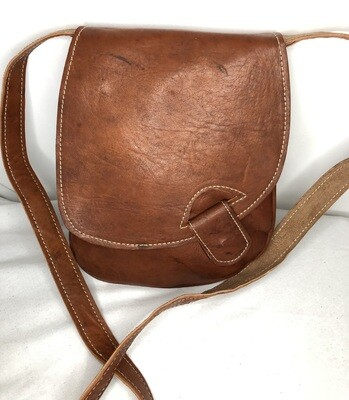 Square Dark Tan Leather Shoulder Bag Handbag