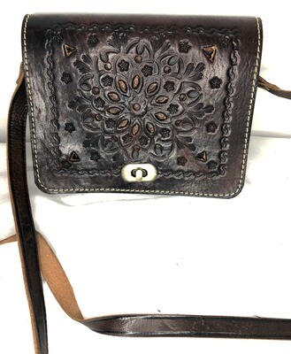 Square Black Leather Embossed Shoulder Bag Handbag