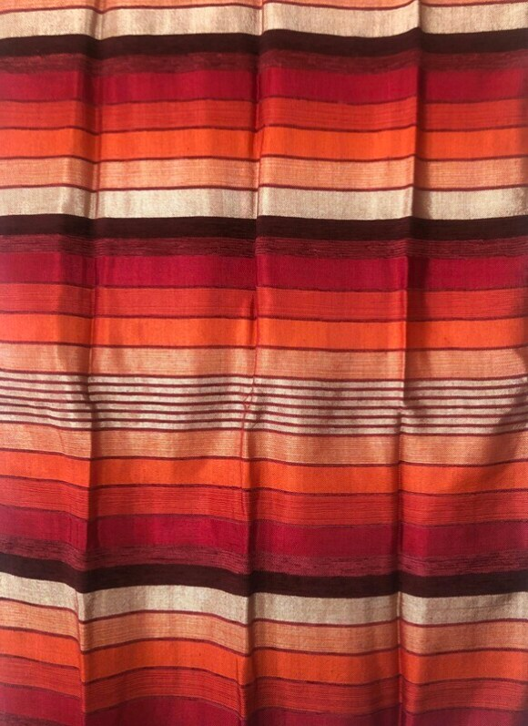 Handmade Moroccan Cranberry and Orange Striped Sabra Silk Scarf