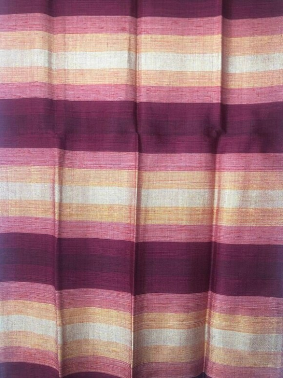 Handmade Moroccan Cranberry and Peach Striped Sabra Silk Scarf