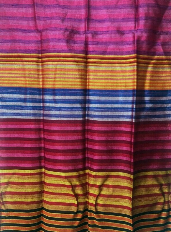 Handmade Moroccan Yellow and Multi-Coloured Striped Sabra Silk Scarf