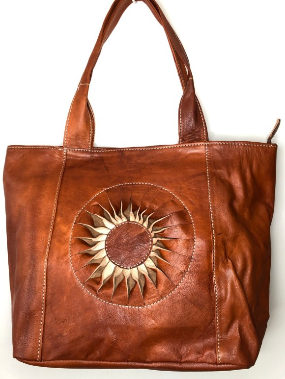 Dark Tan Sun Motif Moroccan Leather Tote Bag Shoulder Bag Shopper