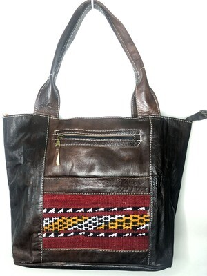 Dark Brown with Red Kilim Front Moroccan Leather Tote Bag Shoulder Bag Shopper