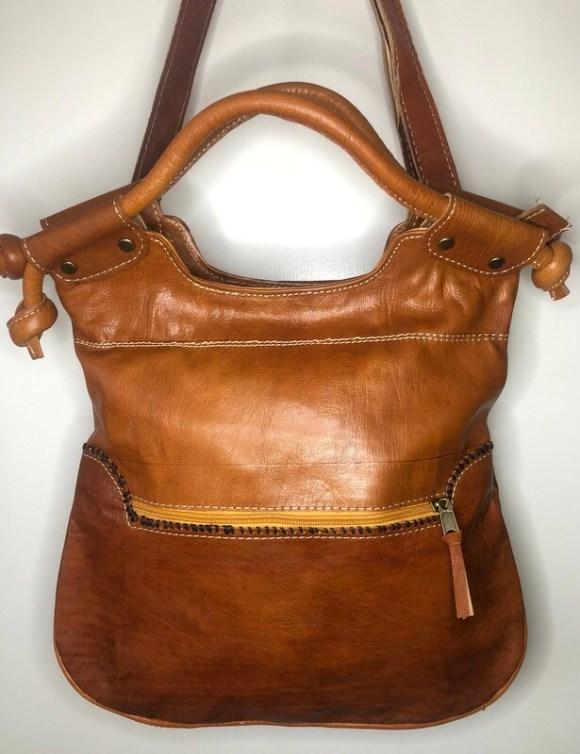 Tan Stitched Moroccan Leather Tote Bag Shoulder Bag Shopper