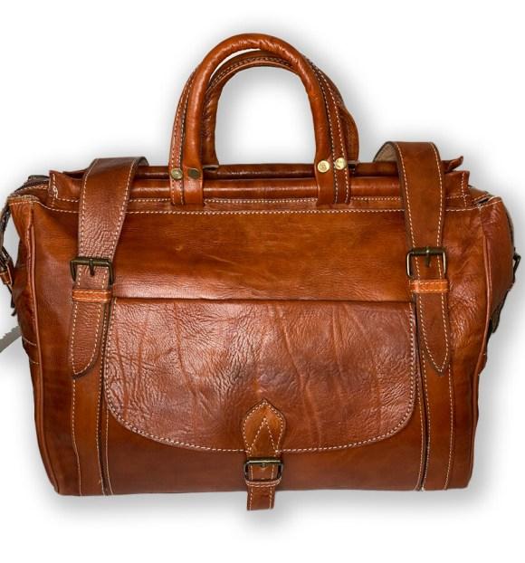 Tan Moroccan Leather Weekend Bag