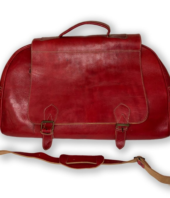 Red Moroccan Leather Weekend/Bowling Bag