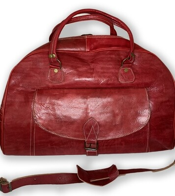Red Moroccan Leather Weekend Bag
