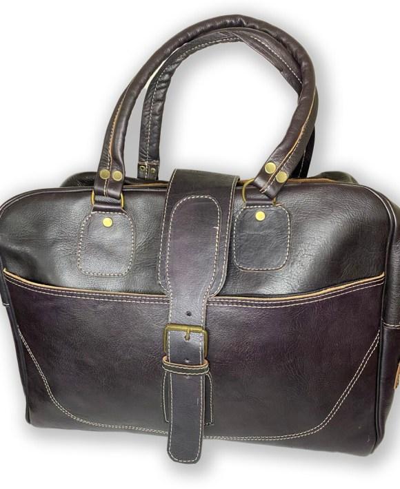 Dark Purple Leather Weekend Bag