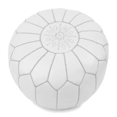Hand Made Moroccan White Leather Pouffe