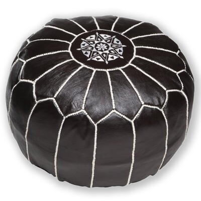 Hand Made Moroccan Black Leather Pouffe