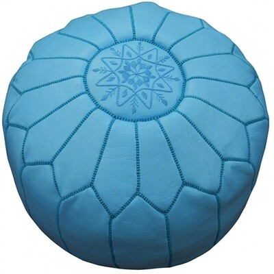 Hand Made Moroccan Blue Leather Pouffe