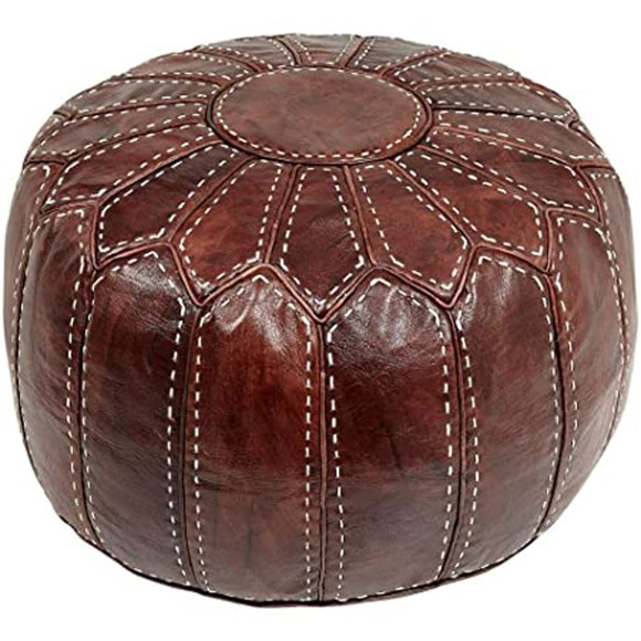 Hand Made Moroccan Burgundy Brown Leather Pouffe