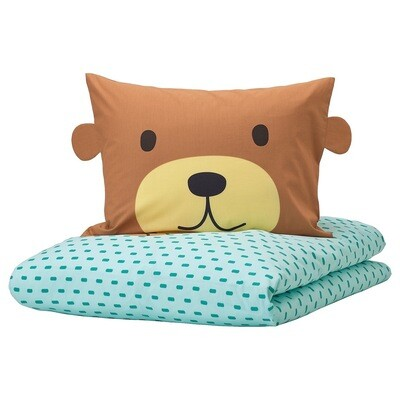 KAPPHAST QUILT COVER AND PILLOWCASE BEAR TURQUOISE