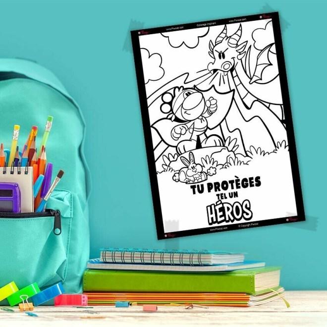 Coloriage Piwooz - Tu protèges tel un héros