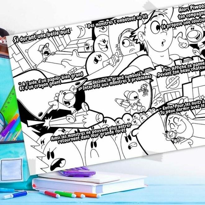 L'histoire à colorier Piwooz - Stop aux monstres
