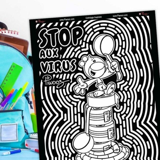 Coloriage Piwooz - Stop aux virus