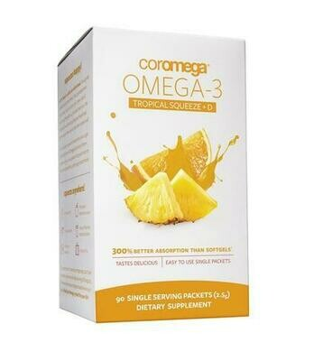 Coromega Omega-3 Fish Oil Tropical Squeeze+D 90 Packet
