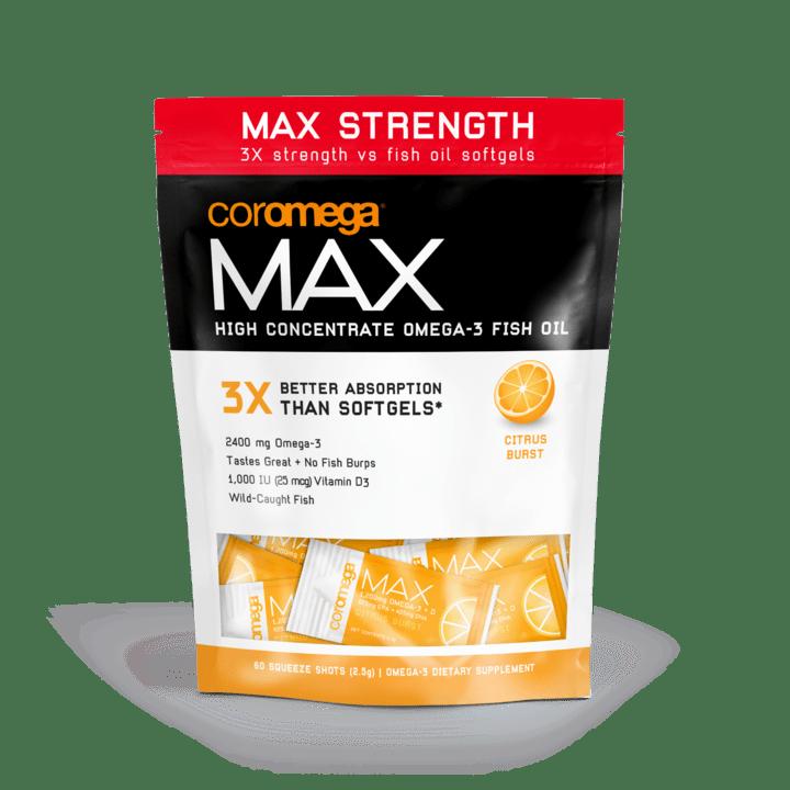 Coromega MAX Omega-3 Fish Oil Citrus Burst Squeeze 60 Packet