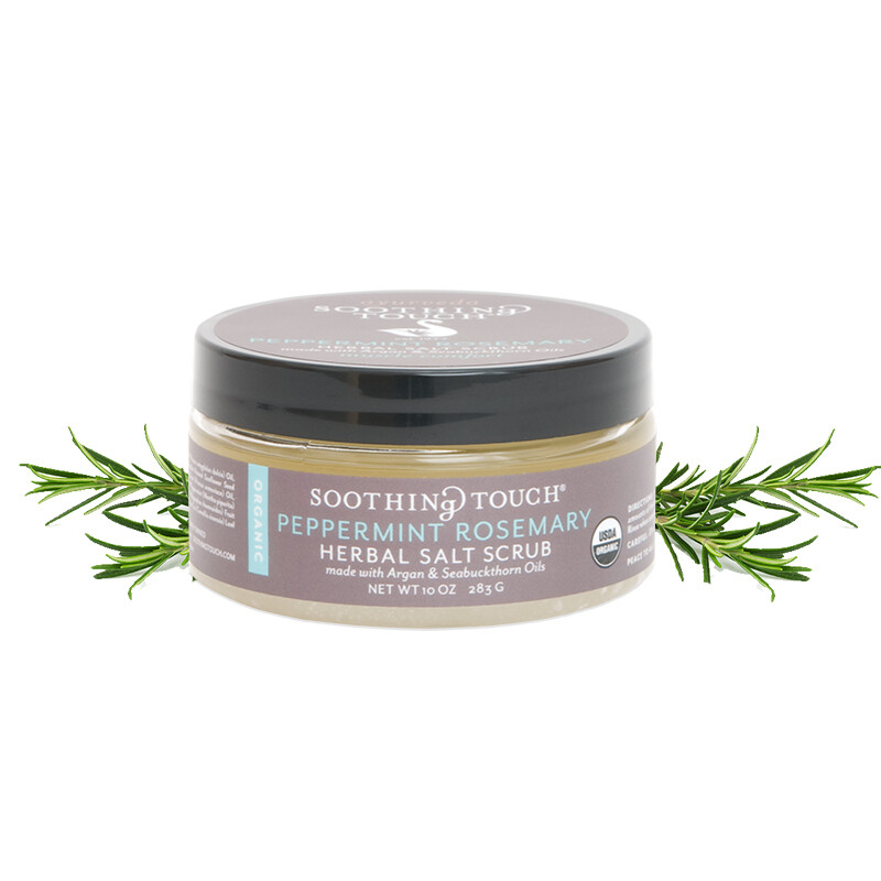 Soothing Touch Herbal Salt Scrub Peppermint Rosemary 10oz