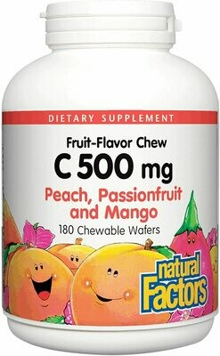 Natural Factors Vitamin C 500mg Peach, Passion fruit, and Mango Chw Tab 180