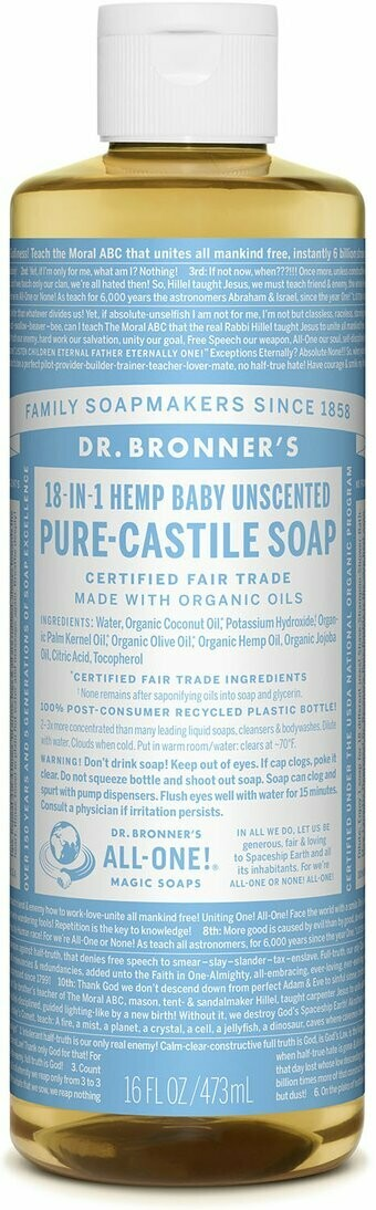 Dr. Bronners 18-1 Hemp Baby Uncented Soap
