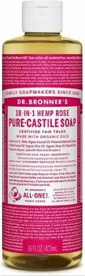 Dr. Bronner's 18-in-1 Hemp Rose Pure Castile Soap 16oz