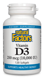 Natural Factors Vitamin D3 250 Mcg 10,000 IU 120 Softgels