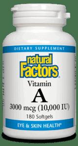 Natural Factors Vitamin A 10,000IU 180sgel
