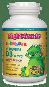 Natural Factors BigFriends Vit D3 10mcg Berry 250chewtab