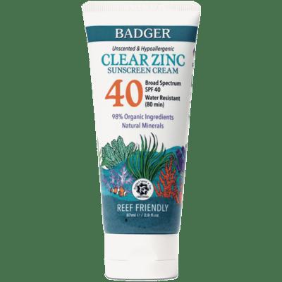 Badger Clear Zinc 40spf Sunscreen Unscented 2.9oz