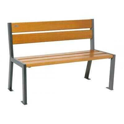 Silaos seat (with backrests) Steel frame with oak slats