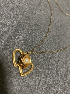"14"" Necklace, Gold Colored, Heart Shaped, Flower Emblem"
