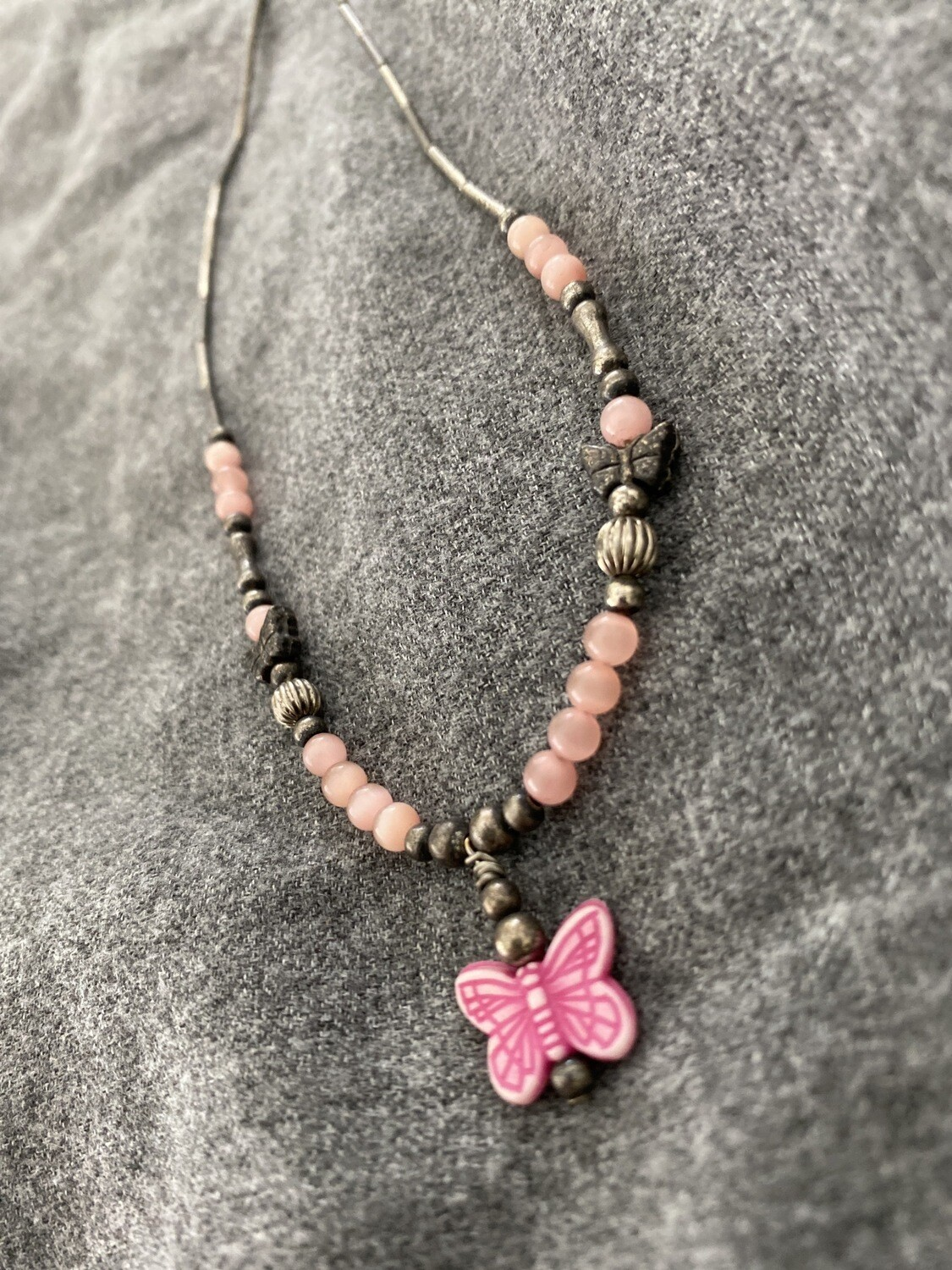 """14"""" Pink Butterfly Necklace, Beaded"""