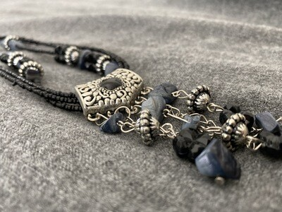 """22"""" Rock Beaded Necklace, Blue and Black, Multi Chained"""