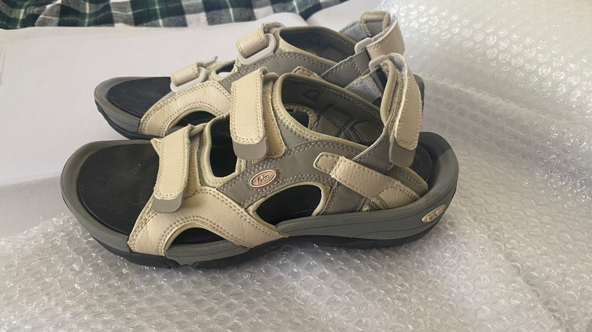 Bite, Sz 8 Womens, Golf Sandals, Tan/Black, 8202B