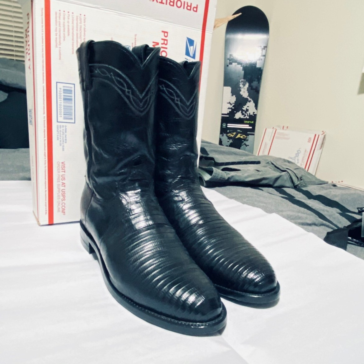 JUSTIN 10.5D BLACK IGUANA LIZARD MADE IN USA #3112 BOOTS GOOD CONDITION SKU #9 BEST OFFER
