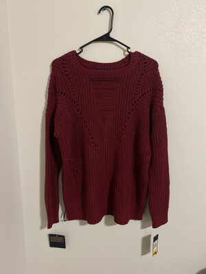 #292 RACHEL ROY SWEATER TOP MACYS RED BURGUNDY WOMENS MEDIUM SIZE NWT