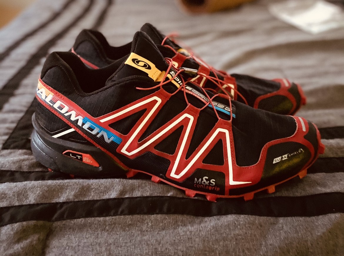 #504 Salomon Speedcross 3 CS | Trail Running Shoes | Size Male 13 Unisex Women 14 | Black and Red | ORIGINAL MSRP $140.00 | FREE SHIPPING
