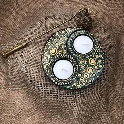 Yin & Yang Tea Light Holder set Green/black