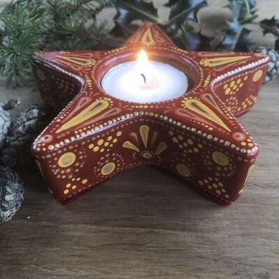 Bright Little Star Tea Light Holder Indian red