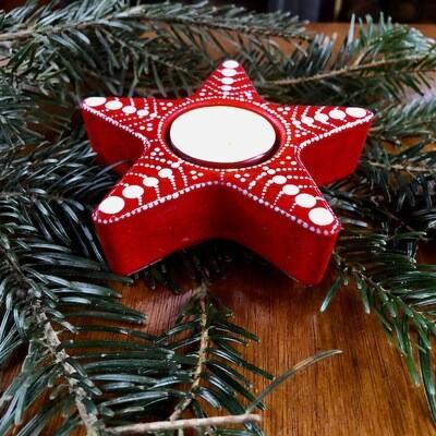 Bright Little Star Tea Light Holder Nordic red