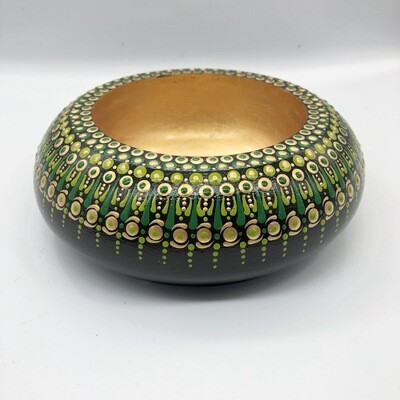 Small Dotted Trinket Bowl Black, Green, Lime & Gold Colours