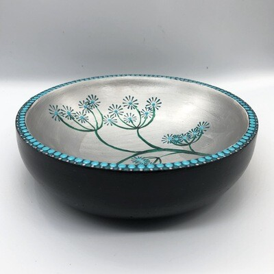 Hand-cast, hand painted dish with seed head design Blue