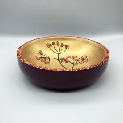 Hand-cast, hand painted dish with seed head design Pink