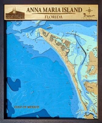 Anna Maria Laser-Cut Nautical Map
