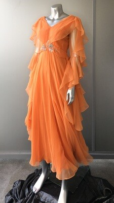 ​JEAN VARON PEACH CHIFFON DRESS