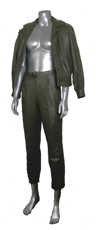 80s olive leather suit