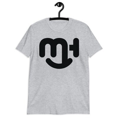 Meck Designs Fashionable Faces | Mono-Black Smiling Emblem Branded Front | Short-Sleeve Unisex T-Shirt