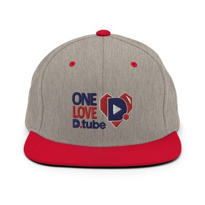 One Love D.Tube Blue & Red Embroidered Snapback Hat
